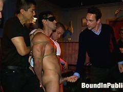 Hot Latin stripper is humiliated and used as a sex object in front of a horny crowd.