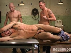 Luke Riley and Jesse Alan tie up and fuck DJ in the slaughterhouse.